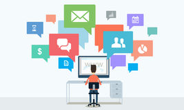 Sozialgeschäftskommunikation und Internetanschluss online Stockfoto