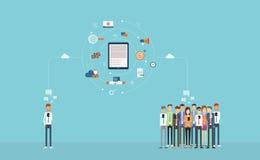 Sozialgeschäftsverbindung auf Mobile Geschäftson-line-Marketing Auf weißem Hintergrund Wolkennetz Rückseitige Ansicht über getren lizenzfreie abbildung