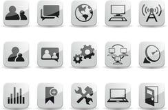 Sozialkommunikationsnetz-Schwarzweiss-Glanz Stockfoto