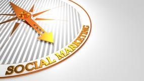 Sozialmarketing auf Weiß-goldenem Kompass Lizenzfreies Stockfoto