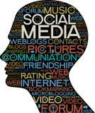 Sozialmediaschattenbild des Kopfes mit den Wörtern Stockbild