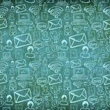 Sozialmediaweinlesekarikatur-Ikonenmuster Lizenzfreies Stockbild