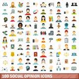 100 Sozialmeinungsikonen eingestellt, flache Art Lizenzfreie Stockbilder