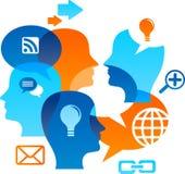 Sozialnetz backgound mit Mediaikonen lizenzfreie abbildung