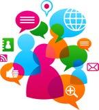 Sozialnetz backgound mit Mediaikonen lizenzfreies stockfoto