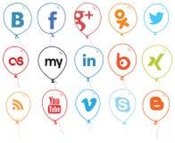 Sozialnetz-Zeichen-Ballone Lizenzfreie Stockbilder