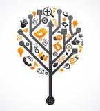 Sozialnetzbaum mit Mediaikonen Stockbilder