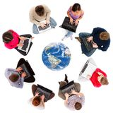Sozialnetzbauteile gesehen von oben Stockbild