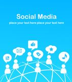 Sozialnetzhintergrund mit Mediaikonen Stockfotografie