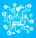 Sozialnetzhintergrund mit Mediaikonen stock abbildung