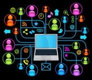 Sozialnetzlaptopschwarzes Lizenzfreie Stockfotos