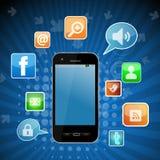 Sozialnetztelefon Stockfotografie