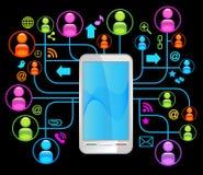 Sozialnetztelefonschwarzes Stockbilder