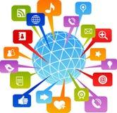 Sozialnetzwelt mit Mediaikonen stockfotos