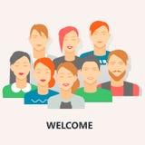 Sozialplakat der willkommenen Leute, flache Vektorillustration Lizenzfreies Stockbild