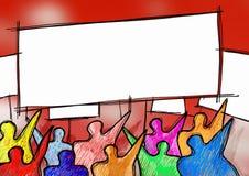 Sozialproblemkonzeptbild Ein Gruppe von Personenen-Protest, zum ihrer Rechte zu erzwingen - Bild mit Raum f?r Texteinf?gung lizenzfreie abbildung
