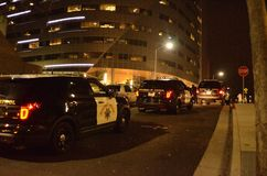 2015 Sozialproteste in im Stadtzentrum gelegenem Oakland Stockfotografie