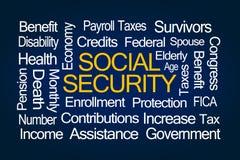 Sozialversicherungs-Wort-Wolke Stockfotografie