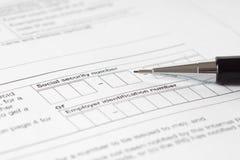 Sozialversicherungsnummerform Lizenzfreies Stockfoto
