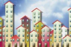 Sozialwohnungskonzeptbild gegen einen bew?lkten Himmel - Konzeptbild mit pixelation Effekt - ich bin der Copyright-Inhaber des gr stockbild
