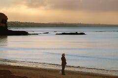 Sozinho na praia Imagem de Stock