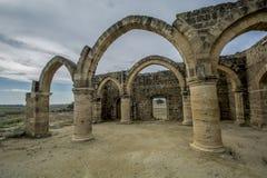 贴水Sozomenos,塞浦路斯废墟  库存图片