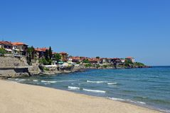 Sozopol古城在保加利亚 免版税库存图片