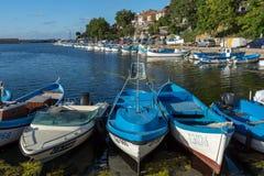 SOZOPOL, BULGARIA - 12 DE JULIO DE 2016: Panorama asombroso del puerto de ciudad de Sozopol, Bulgaria Imágenes de archivo libres de regalías