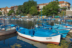 SOZOPOL, BULGARIA - JULY 12, 2016: Amazing Panorama of port of town of Sozopol, Bulgaria Royalty Free Stock Photos