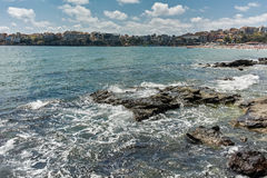 SOZOPOL, BULGARIA - JULY 16, 2016: Coastline of Old town of Sozopol Royalty Free Stock Photo