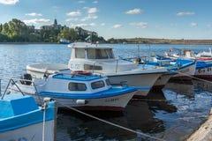 SOZOPOL, BULGARIE - 12 JUILLET 2016 : Panorama étonnant de port de ville de Sozopol, Bulgarie Photographie stock libre de droits