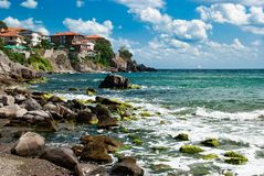 Sozopol coastline. And old town at Black Sea, Bulgaria Royalty Free Stock Images
