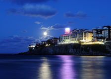 Sozopol new town by night Stock Photo