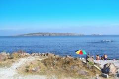 Sozopol strand och ö, Bulgarien Arkivfoton
