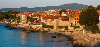 Sozopol Sunrise. Old beach town of Sozopol at sunrise, Bulgaria Royalty Free Stock Image