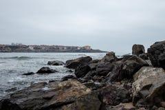 Sozopol zima Seaview Horyzontalny Zdjęcia Stock