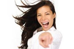 spännande pekande kvinna Arkivbild
