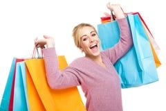 spännande shoppingkvinna Arkivbilder