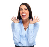 spännande lycklig kvinna för affär royaltyfri bild