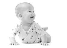 Spädbarnet behandla som ett barn att le för pojke som isoleras på vit Royaltyfria Foton
