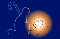 SpädbarnJesus hjärta i krubba med att glöda ljust på knäfalla herde vektor illustrationer
