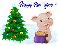 Spädgris med en gåva i kortet för nytt år vektor illustrationer