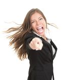 spännande affärskvinna peka vinnaren royaltyfri foto