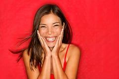 Spännande lycklig flicka Fotografering för Bildbyråer