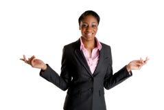 spännande lycklig kvinna för affär royaltyfri foto