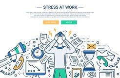 Spänning på arbete - linje baner för lägenhetdesignwebsite royaltyfri illustrationer