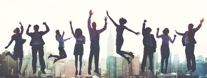 Spänning Victory Achievement Concept för framgång för affärsfolk fotografering för bildbyråer