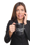 Spänningsbegrepp - stressad affärskvinna Royaltyfri Foto