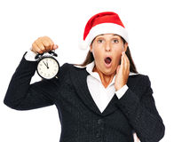 Späte Geschäftsweihnachtsfrau Stockfotos
