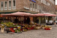 Spätzle. Flower shop on the square in Nuremberg Royalty Free Stock Photography